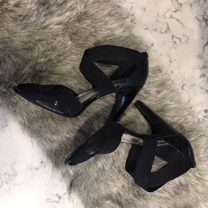 BCBGirls Shoes - BCBG strappy leather black heels